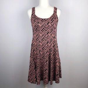 ModCloth | Zigzag Print Pink Sparkle Skater Dress